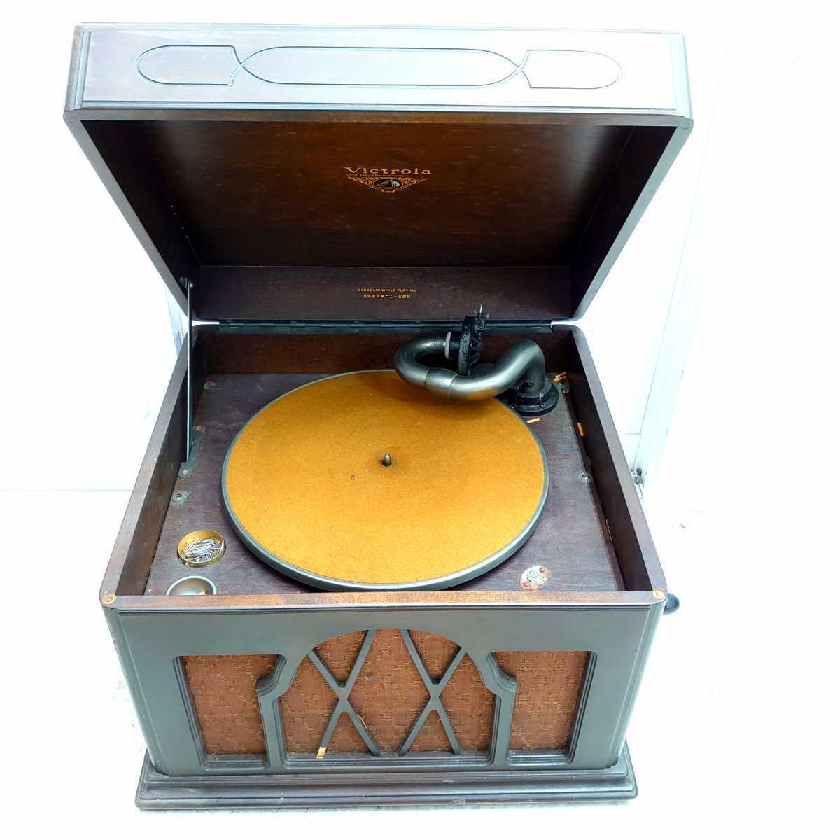 ◆Victrola Victor 蓄音機◆横約45cm/高さ約34cm/奥行約41.5cm/ビクター/卓上/レコード/アンティーク/コレクション/レトロ/替え針付/手動式