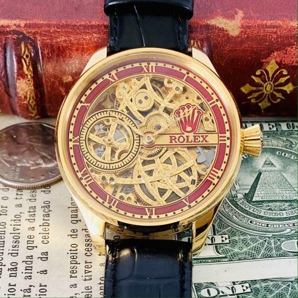 ★OH済★ロレックス 彫金 スケルトンRolex 17石 手巻き 腕時計 アンティーク ビンテージ メンズ 高級 ゴールド 動作良好 豪華 スモセコ_画像2