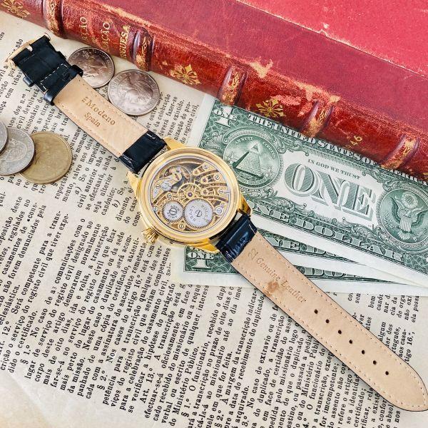 ★OH済★ロレックス 彫金 スケルトンRolex 17石 手巻き 腕時計 アンティーク ビンテージ メンズ 高級 ゴールド 動作良好 豪華 スモセコ_画像8