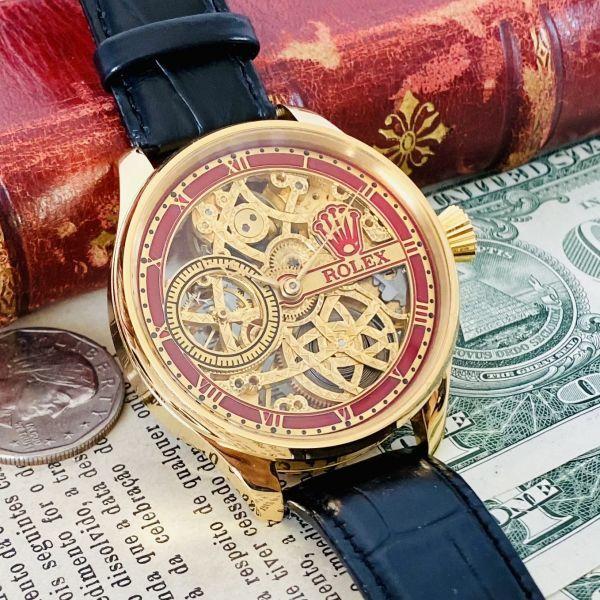 ★OH済★ロレックス 彫金 スケルトンRolex 17石 手巻き 腕時計 アンティーク ビンテージ メンズ 高級 ゴールド 動作良好 豪華 スモセコ_画像3