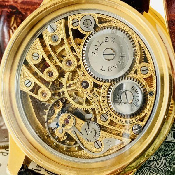 ★OH済★ロレックス 彫金 スケルトンRolex 17石 手巻き 腕時計 アンティーク ビンテージ メンズ 高級 ゴールド 動作良好 豪華 スモセコ_画像9