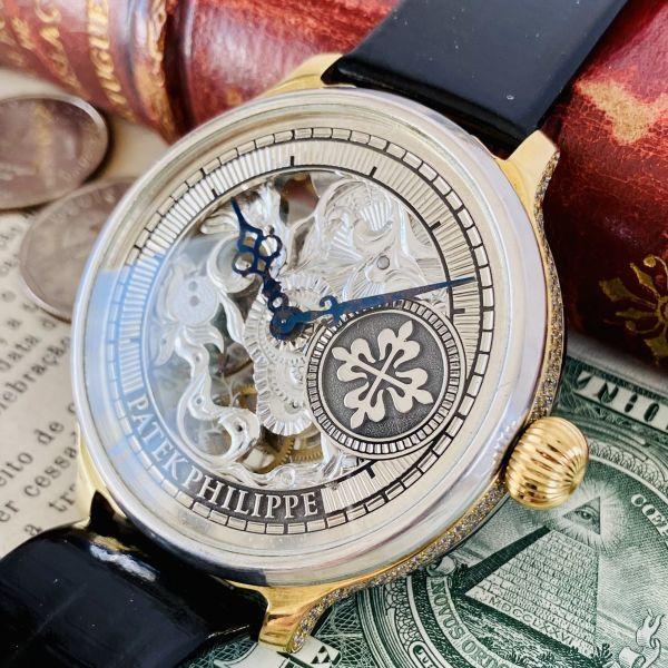 ☆OH済☆世界三大高級時計 パテックフィリップ 彫金 スケルトン PATEK PHILIPE 17石 手巻き アンティーク メンズ ゴールド 動作良好 豪華