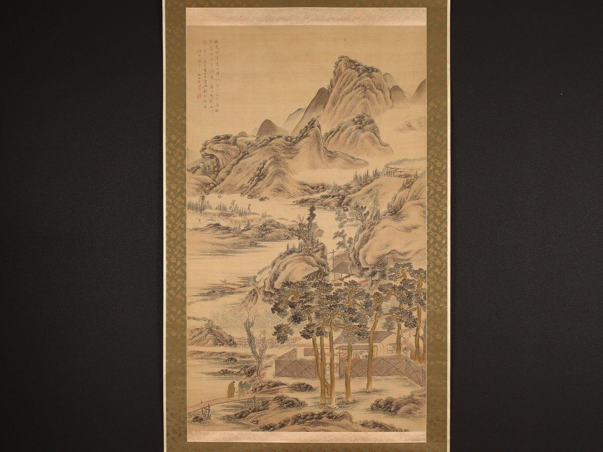 【模写】【伝来】mz5866〈田能村竹田〉大幅 夏景山水図 南画家 大分の人 江戸時代 中国画
