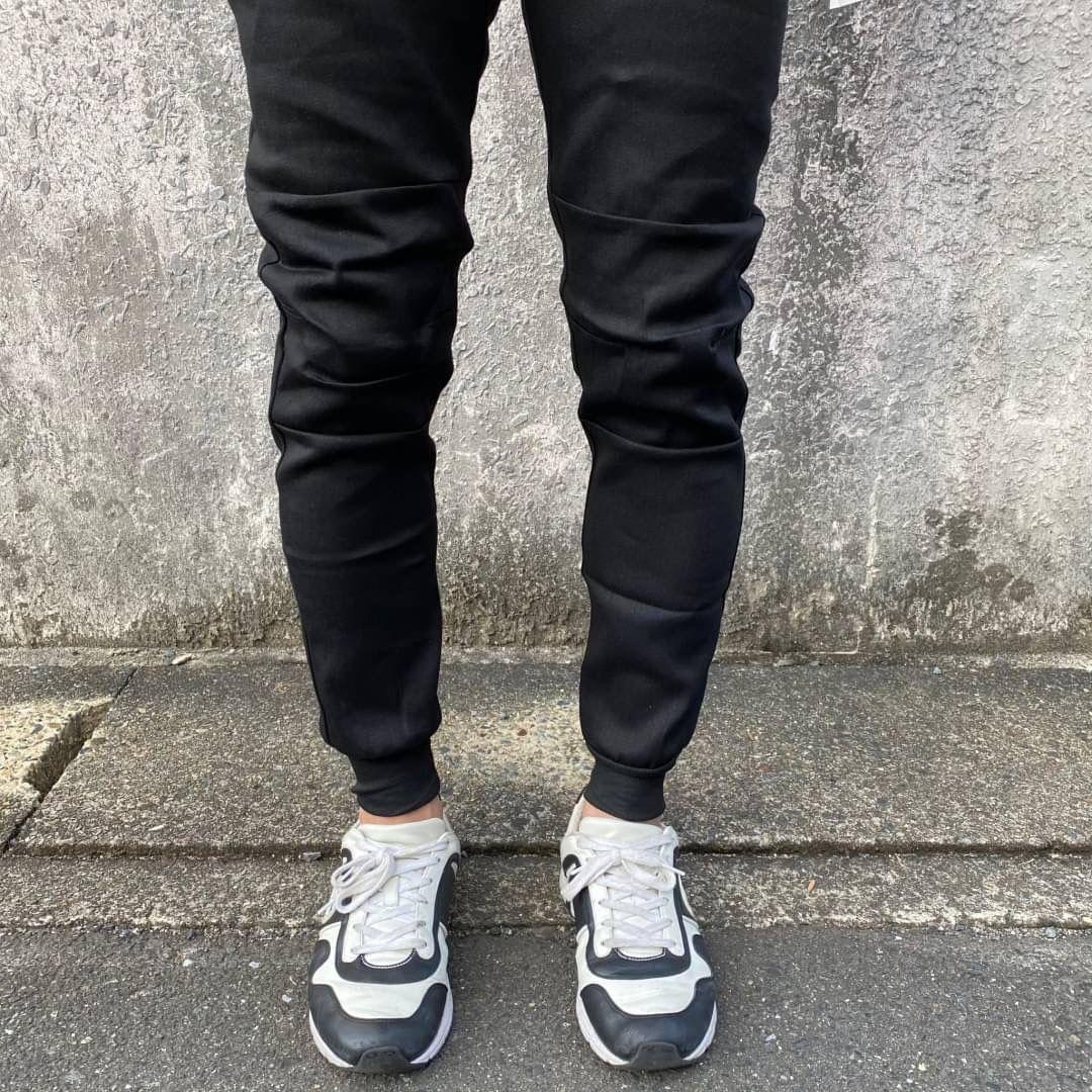 デニムジョガーパンツ スキニー ジーンズ デニム調  カラーブラック Lサイズ