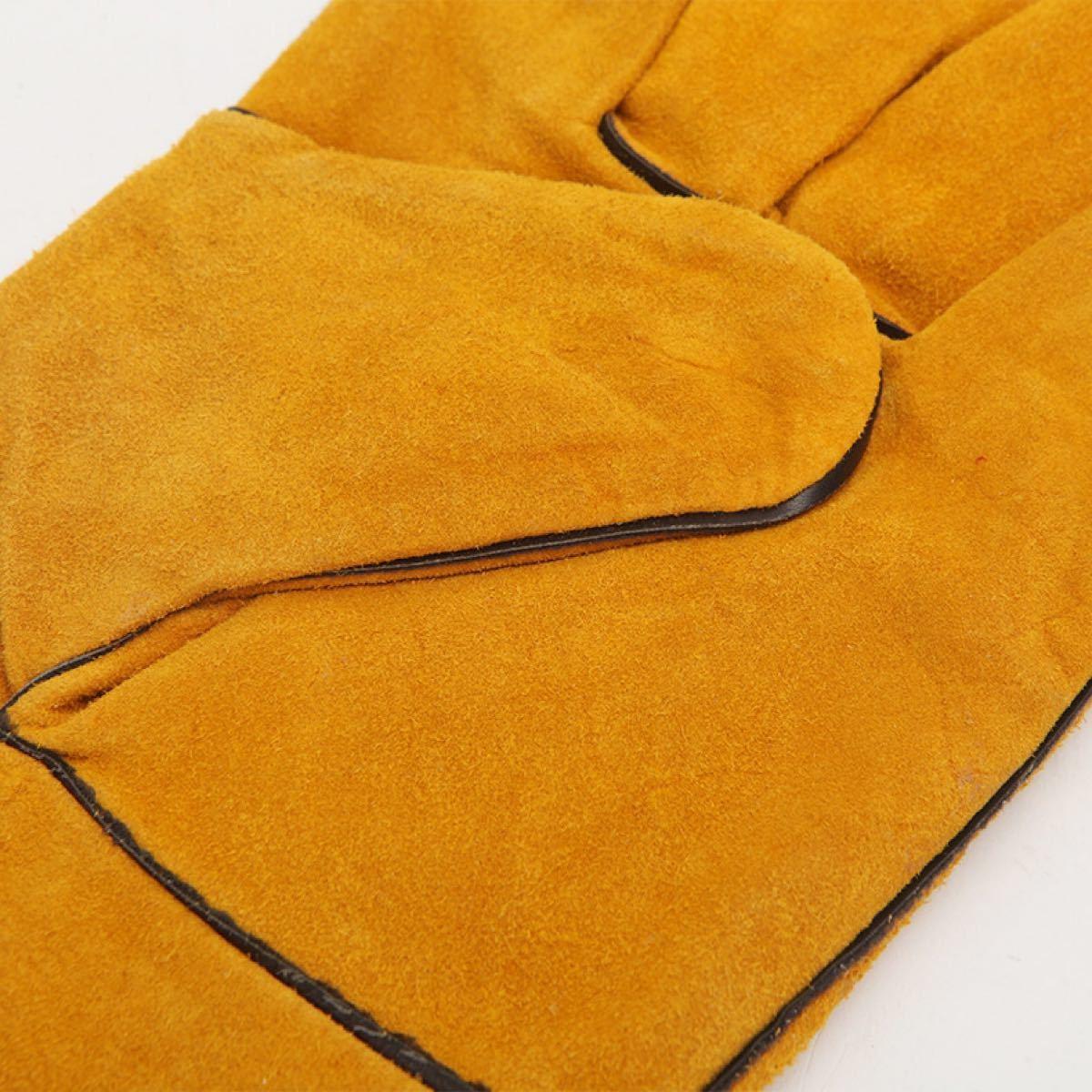 耐熱 手袋 キャンプグローブ レザーグローブ BBQ 耐熱グローブ アウトドア用 溶接 作業 耐久性 安全