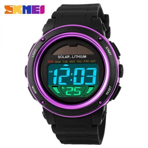 ソーラーエネルギーメンズエレクトロニックスポーツウォッチアウトドアミリタリーLEDウォッチデジタルクォーツ腕時計 purple_画像1