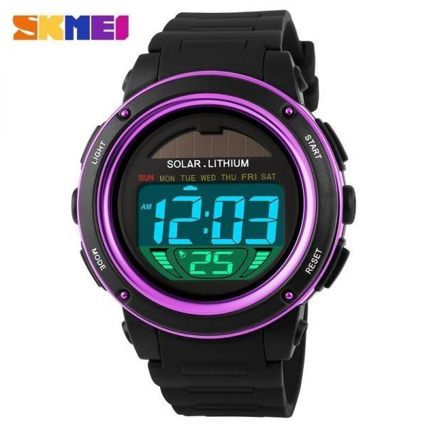 ソーラーエネルギーメンズエレクトロニックスポーツウォッチアウトドアミリタリーLEDウォッチデジタルクォーツ腕時計 purple_画像3