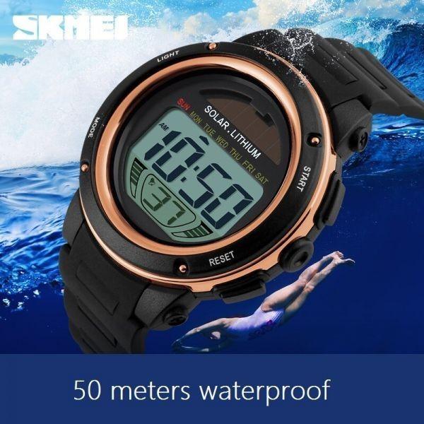 ソーラーエネルギーメンズエレクトロニックスポーツウォッチアウトドアミリタリーLEDウォッチデジタルクォーツ腕時計 gold_画像4