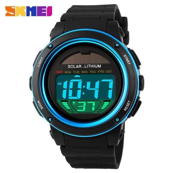 ソーラーエネルギーメンズエレクトロニックスポーツウォッチアウトドアミリタリーLEDウォッチデジタルクォーツ腕時計 blue_画像1