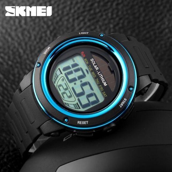 ソーラーエネルギーメンズエレクトロニックスポーツウォッチアウトドアミリタリーLEDウォッチデジタルクォーツ腕時計 blue_画像5