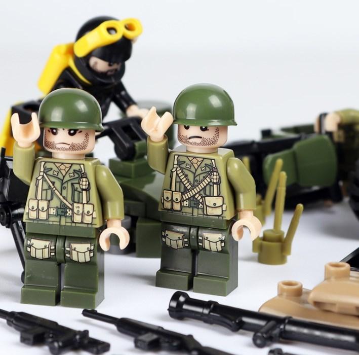 アメリカ軍8体 車両武器つきセット 戦争軍人軍隊マンミニフィグ LEGO 互換 ブロック ミニフィギュア レゴ 互換t25_画像2