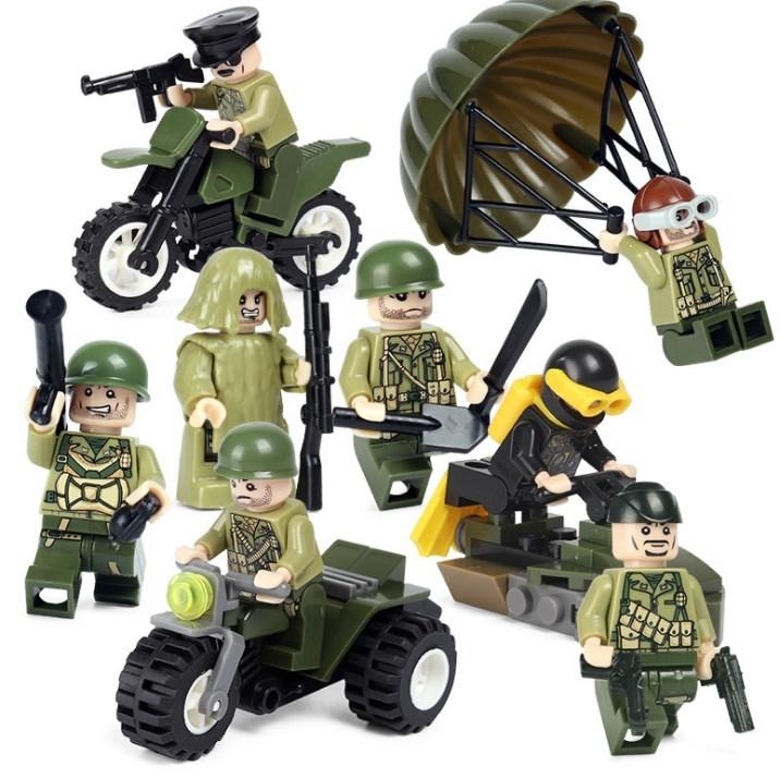 アメリカ軍8体 車両武器つきセット 戦争軍人軍隊マンミニフィグ LEGO 互換 ブロック ミニフィギュア レゴ 互換t25_画像3