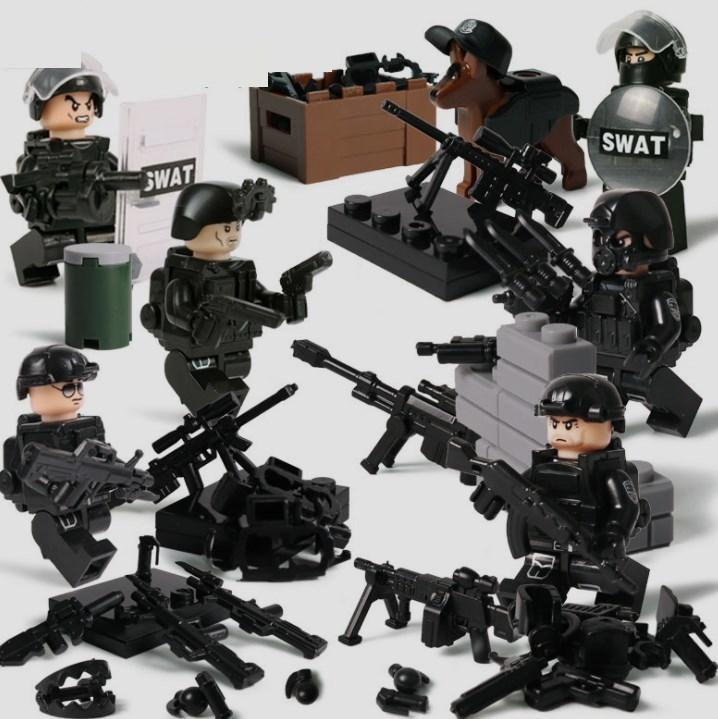 swat部隊6体 武器つき戦争軍人軍隊マンミニフィグ LEGO 互換 ブロック ミニフィギュア レゴ 互換t38_画像1