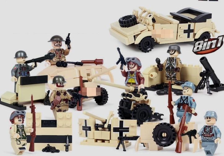 第二次世界大戦 8体 車両武器つきセット 戦争軍人軍隊マンミニフィグ LEGO 互換 ブロック ミニフィギュア レゴ 互換t23_画像1