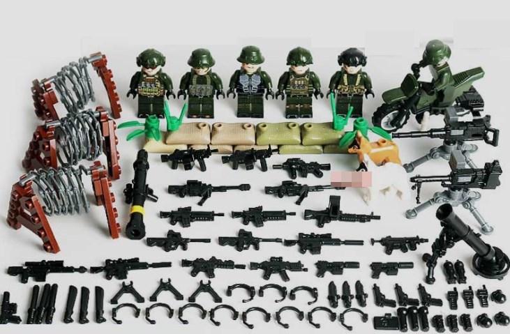 野戦部隊6体 バイク武器つきセット 戦争軍人軍隊マンミニフィグ LEGO 互換 ブロック ミニフィギュア レゴ 互換t30_画像1