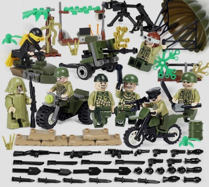 アメリカ軍8体 車両武器つきセット 戦争軍人軍隊マンミニフィグ LEGO 互換 ブロック ミニフィギュア レゴ 互換t25_画像1