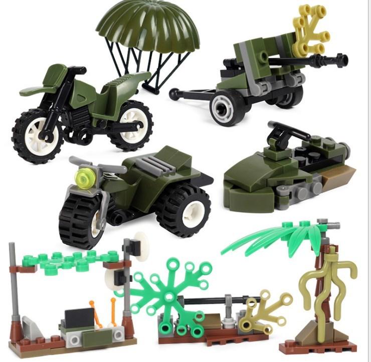 アメリカ軍8体 車両武器つきセット 戦争軍人軍隊マンミニフィグ LEGO 互換 ブロック ミニフィギュア レゴ 互換t25_画像4