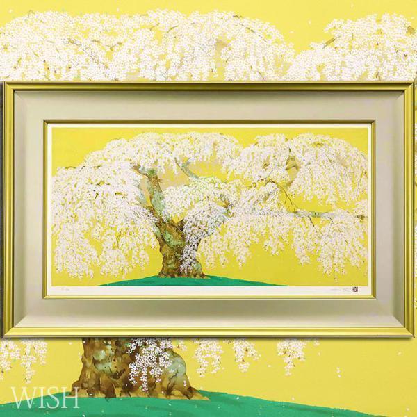 【真作】【WISH】中島千波「神田の大糸桜」リトグラフ 大作 1998年作 直筆サイン 280部限定  〇現代巨匠 元日本美術院特待 #21022252