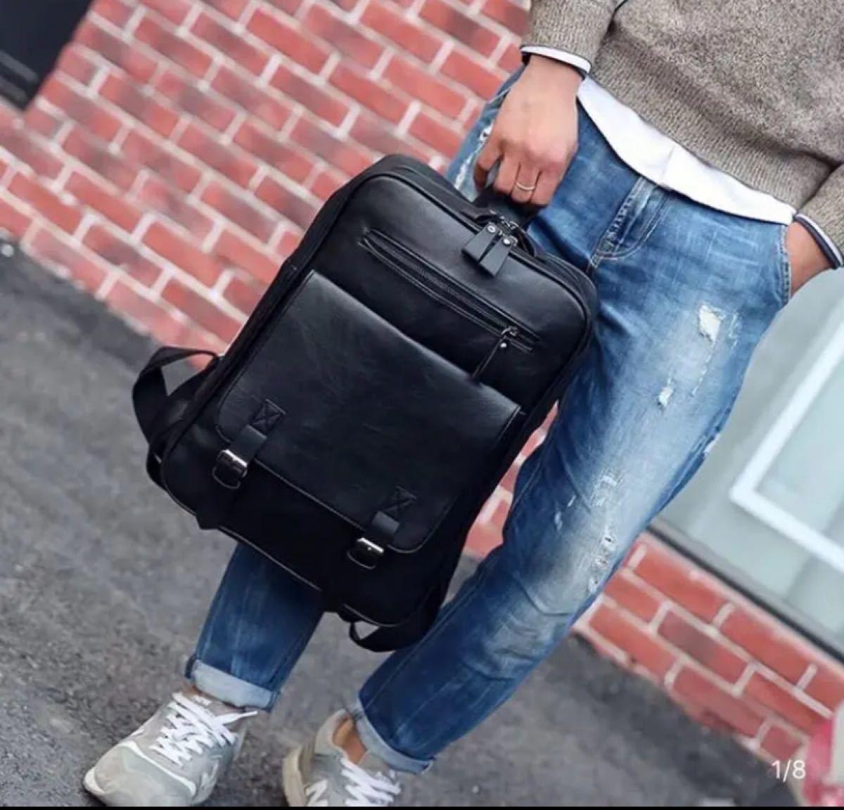 メンズリュックサック リュック ビジネスバッグ バックパック レザー ブラック 黒 通学 入学 ビジネスリュック  シンプル