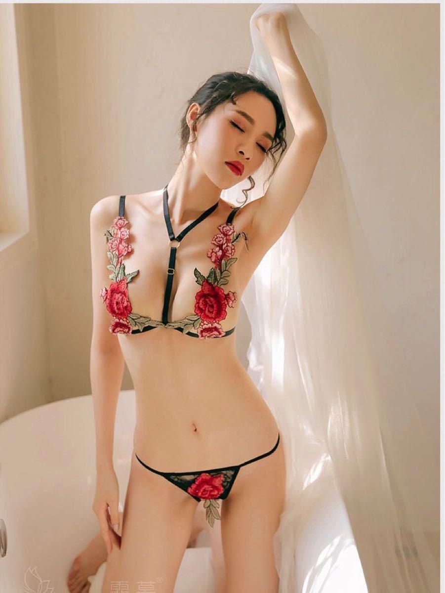 薔薇刺繍 セクシーランジェリー ブラ ショーツ 2点セット
