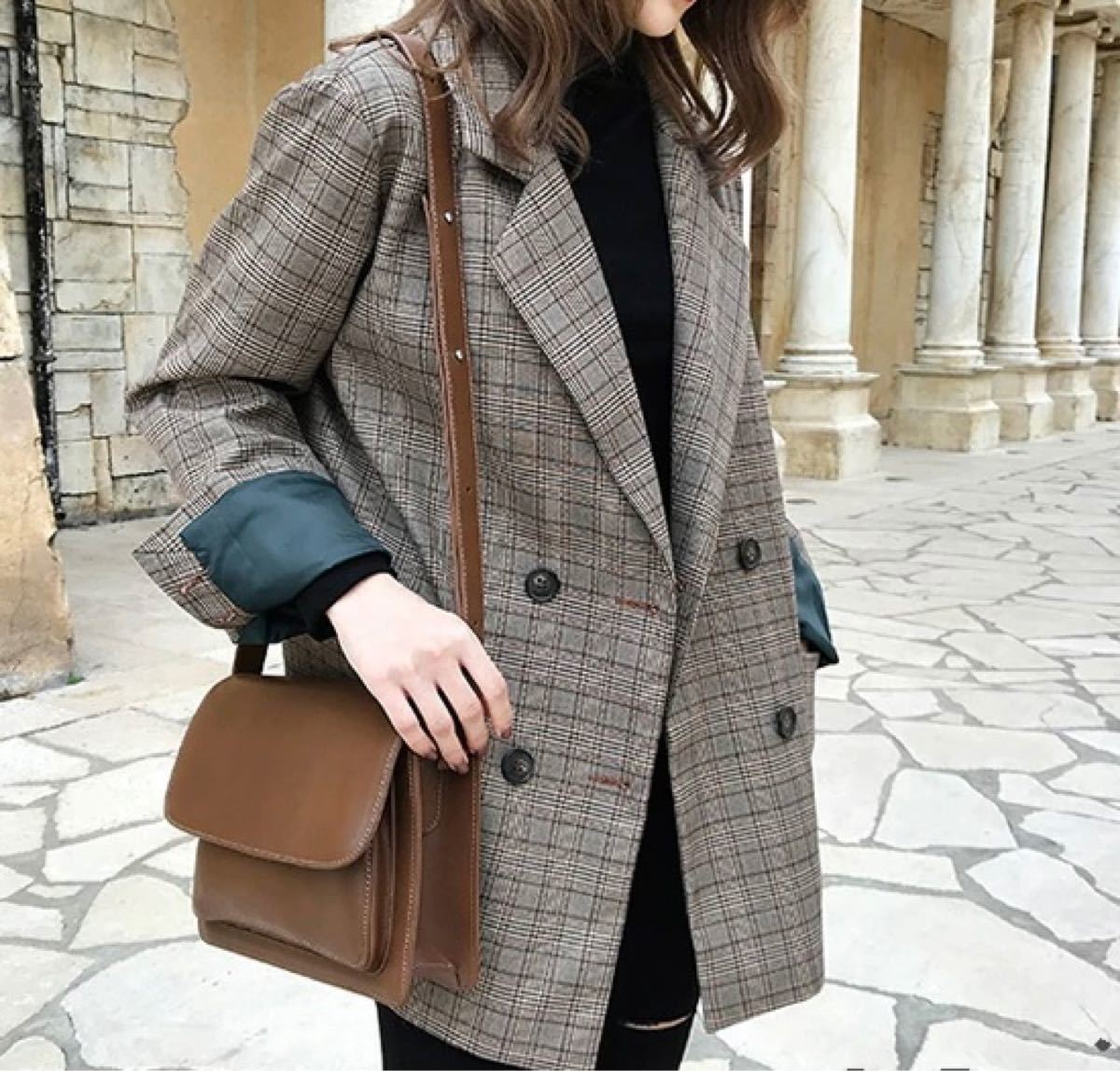 韓国ファッション チェスターコート アウタージャケット グレンチェック チェック柄 ビックシルエット
