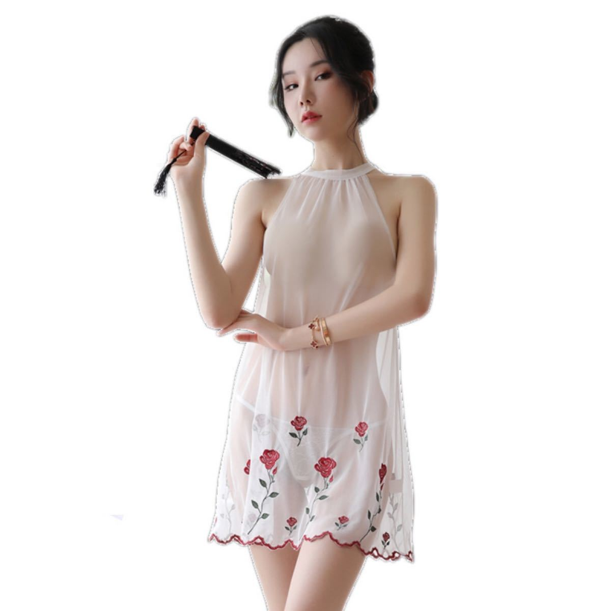 セクシーランジェリ過激 穴あき薔薇刺繍  新婚旅行 tバック付き2点セット