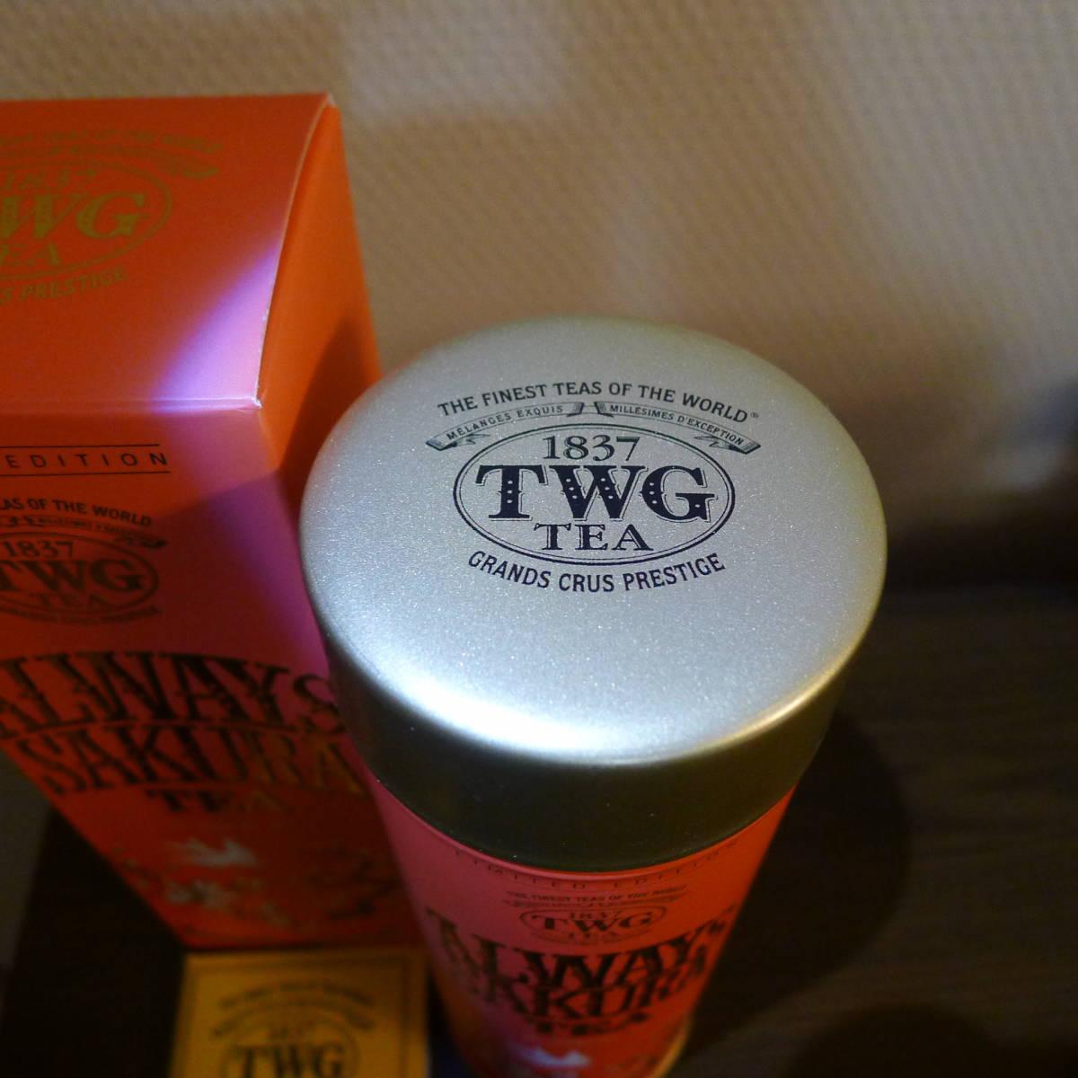 新品TWG オールウェイズサクラ 茶葉100g缶 ローズ緑茶 (ルースティー煎茶 グリーンティー チェリー TEA ティーダブルジーティー紅茶_画像2