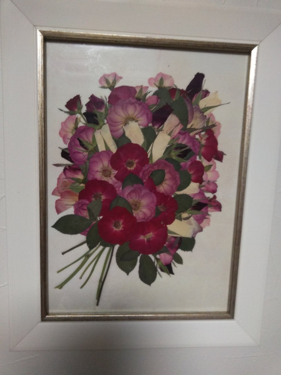 薔薇の押し花作品