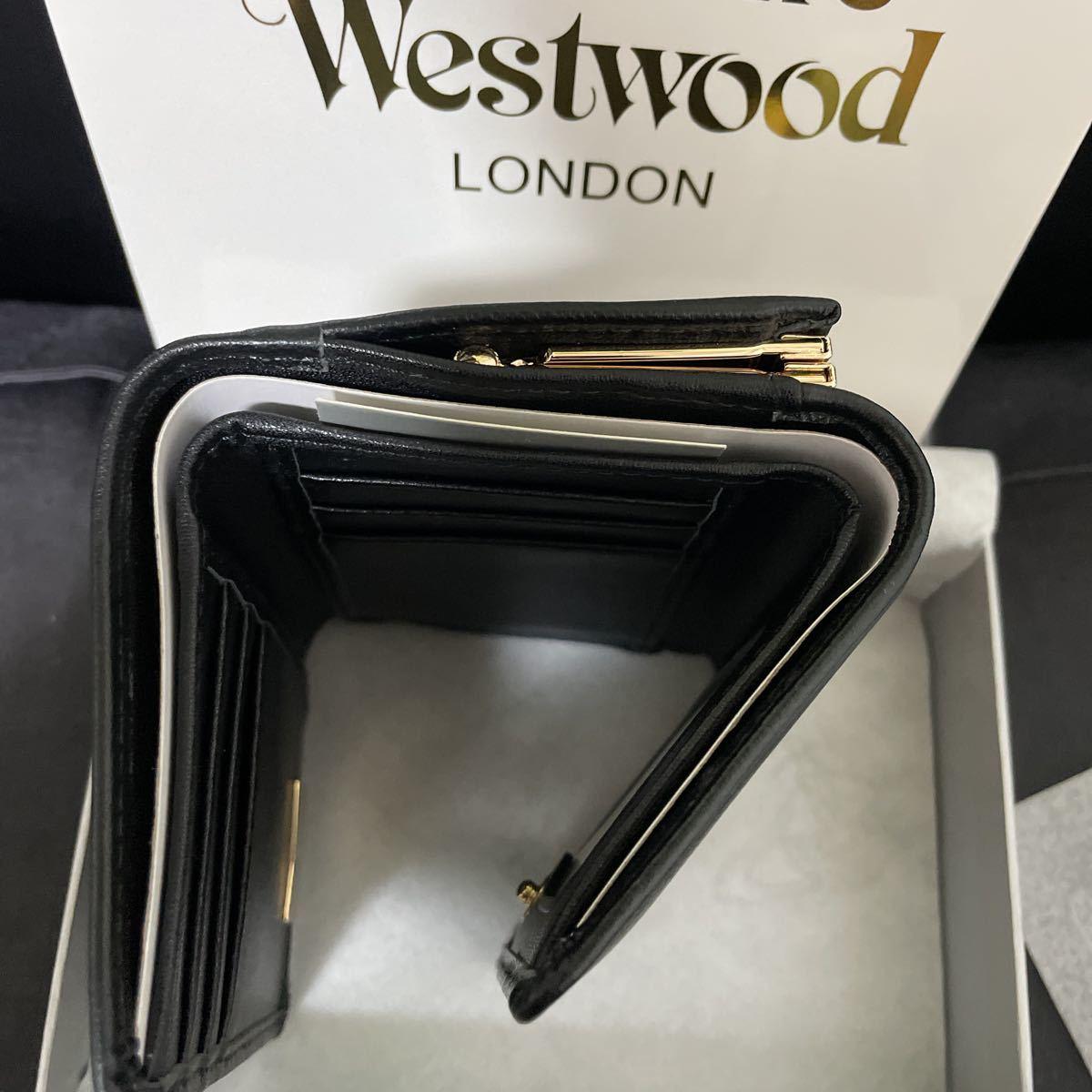 ヴィヴィアンウエストウッド Vivienne Westwood 三つ折り財布 財布 ブラック ミニ財布 純正箱付き