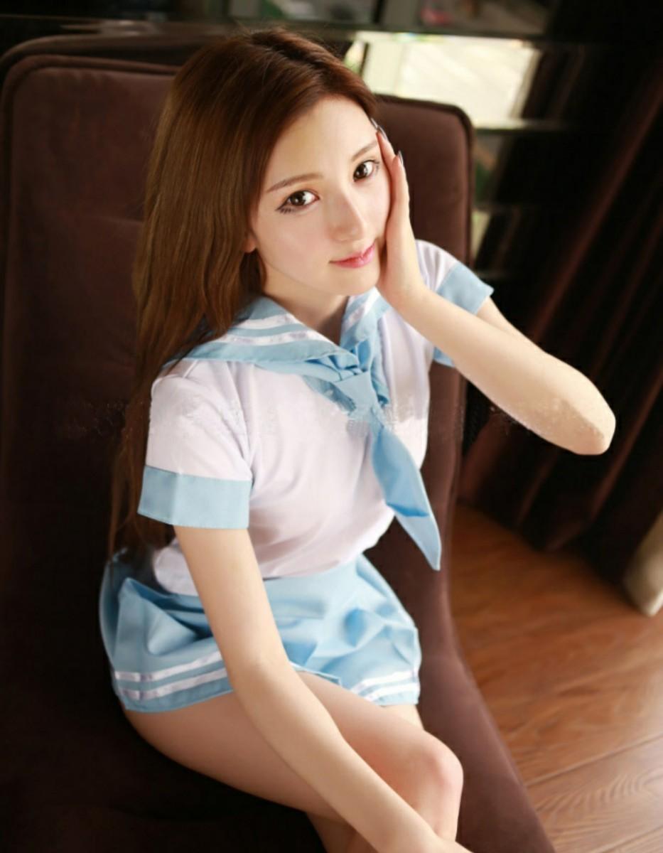 セーラー服セット コスプレ衣装 ライトブルー  ミニスカート セクシー