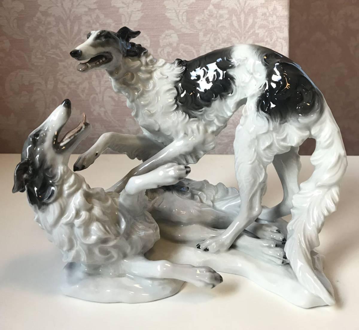 〈送料込〉〈美品〉1937年 ローゼンタール ボルゾイ ロシアングレイハウンド フィギュリン Rosenthal フィギュア 犬 いぬ dog 置物_画像1