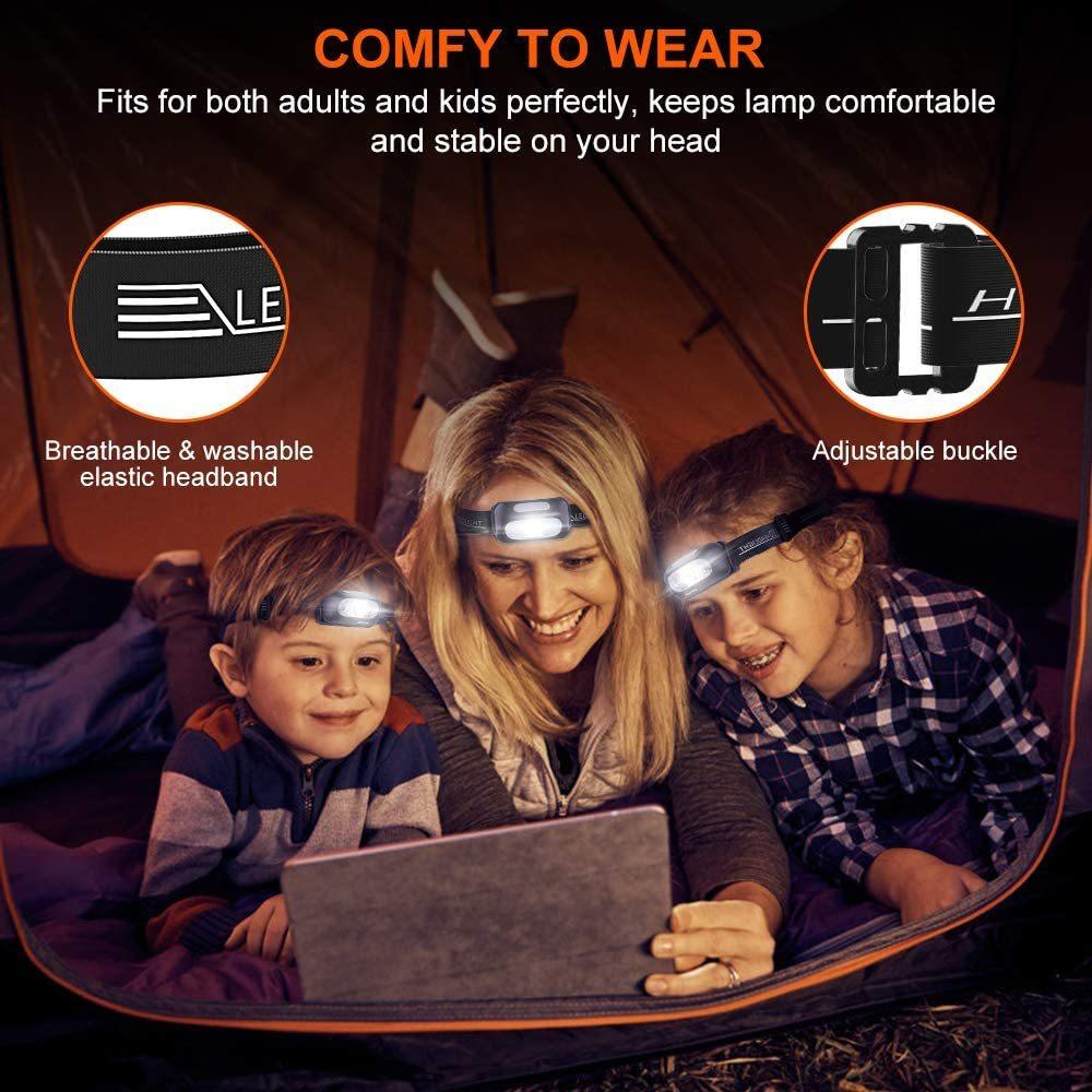 【新品】 ★交渉有・特価★ ヘッドライト 充電式 USB LED アウトドア用ヘッドライト 40g超軽量 高輝度 5種点灯モード