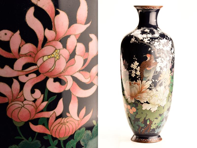 【流】日本美術 時代七宝花鳥文特大花瓶 高61cm JW357