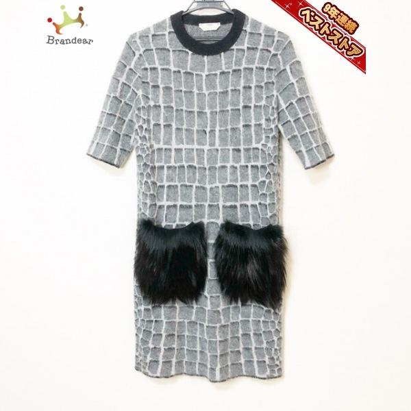 フェンディ FENDI サイズ40 M - グレー×黒 レディース 七分袖/ひざ丈 ワンピース
