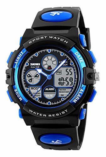 1-ブルー 51 子供腕時計 ボーイズスポーツウォッチ アウトドア多機能防水 アラート 日付曜日表示 デュアルタイム LED ア_画像8