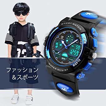 1-ブルー 51 子供腕時計 ボーイズスポーツウォッチ アウトドア多機能防水 アラート 日付曜日表示 デュアルタイム LED ア_画像2