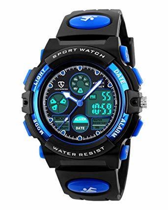 1-ブルー 51 子供腕時計 ボーイズスポーツウォッチ アウトドア多機能防水 アラート 日付曜日表示 デュアルタイム LED ア_画像1