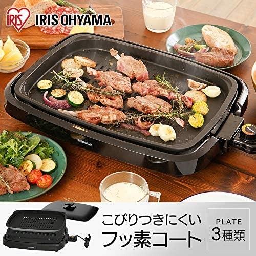 売れスジ! アイリスオーヤマ ホットプレート たこ焼き 焼肉 平面 プレート 3枚 網焼き 蓋付き ブラック Y12246_画像2
