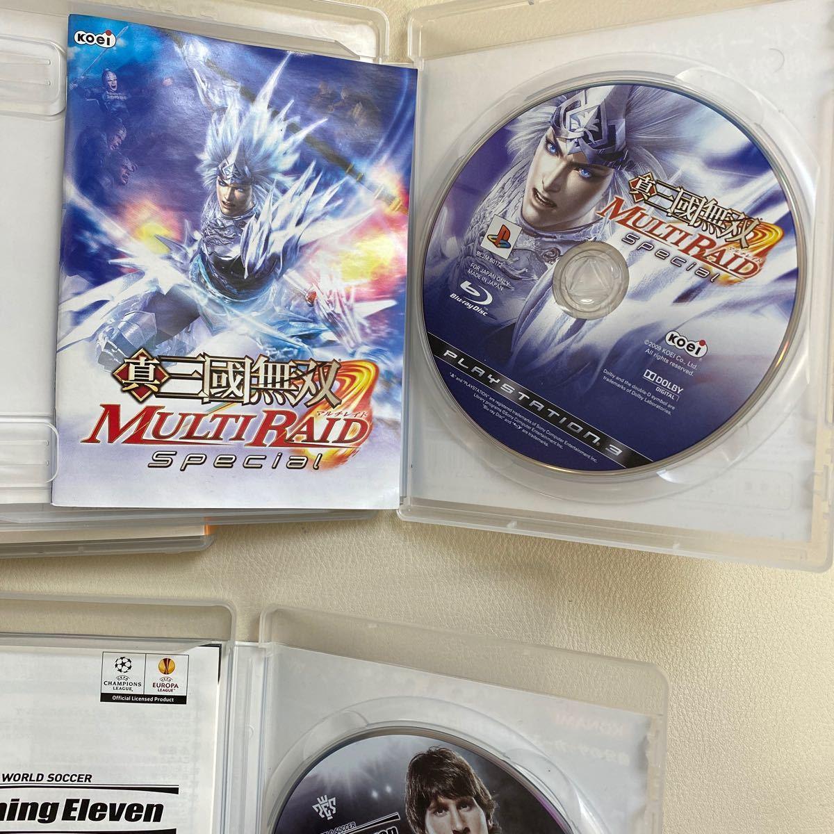 PS3ソフト 3点 龍が如く4 真・三國無双 MULTI RAID ワールドサッカー ウイニングイレブン 2011