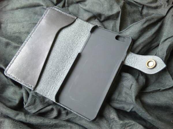 ハンドメイド/手縫い 本革 iPhoneSEケース iPhone8ケース iPhone7ケース ブラックレザー手帳_ハードケースはクリアー色になります。