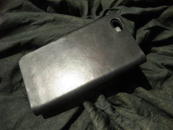 ハンドメイド/手縫い 本革 iPhoneSEケース iPhone8ケース iPhone7ケース ブラックレザー手帳_画像3