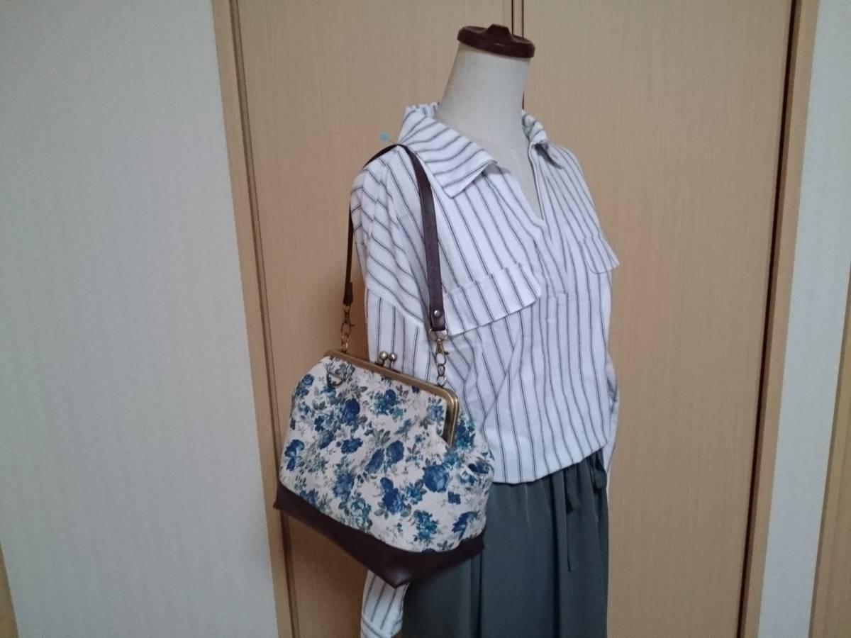 アンティーク ローズ ナチュラル ブルー バラ 花 がま口 3way ショルダー バッグ ハンドメイド 手提げ 斜めかけ 和装 着物 長財布 入ります