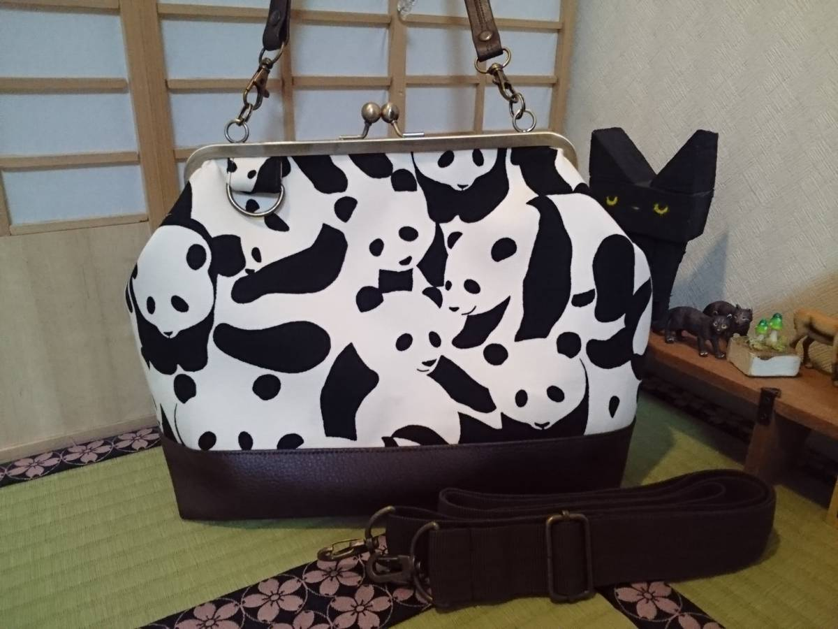 モノトーン カモフラージュ パンダ 白 黒 動物 がま口 3way ショルダー バッグ ハンドメイド 手提げ 斜めかけ 和装 着物 長財布 入ります