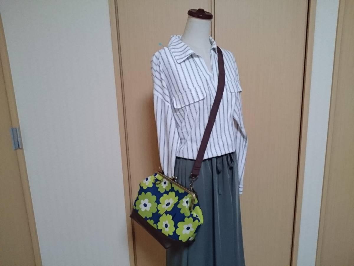 北欧 フラワー 花柄 花 青 黄緑 ライトグリーン がま口 3way ショルダー バッグ ハンドメイド 手提げ 斜めかけ 和装 着物 長財布 入ります_画像2
