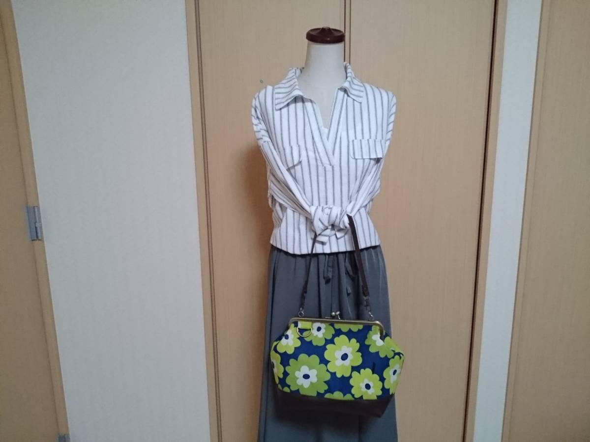 北欧 フラワー 花柄 花 青 黄緑 ライトグリーン がま口 3way ショルダー バッグ ハンドメイド 手提げ 斜めかけ 和装 着物 長財布 入ります_画像3