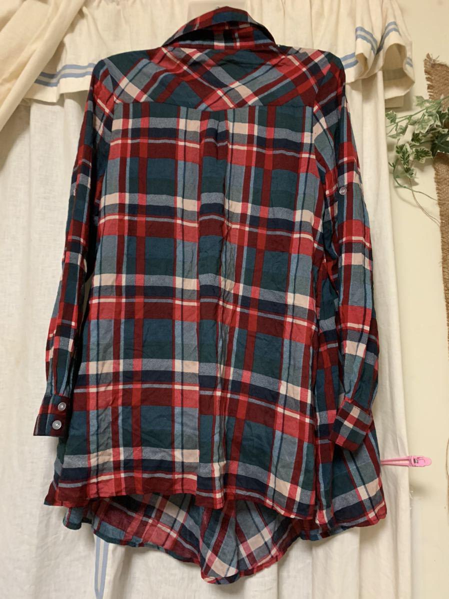 新品 フリーサイズ チェックシャツ チェック柄 薄手 Trinity トリニティ_画像2
