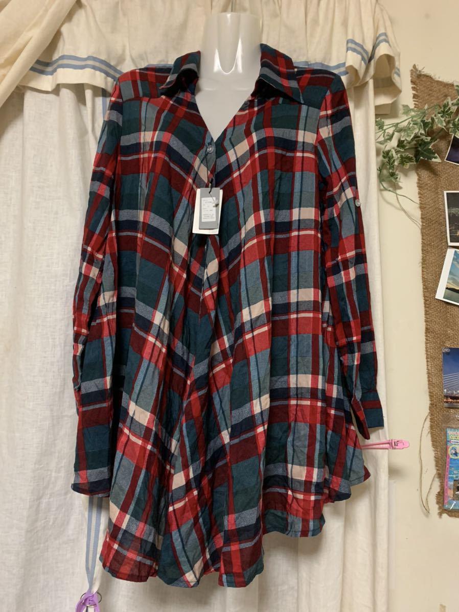 新品 フリーサイズ チェックシャツ チェック柄 薄手 Trinity トリニティ_画像1
