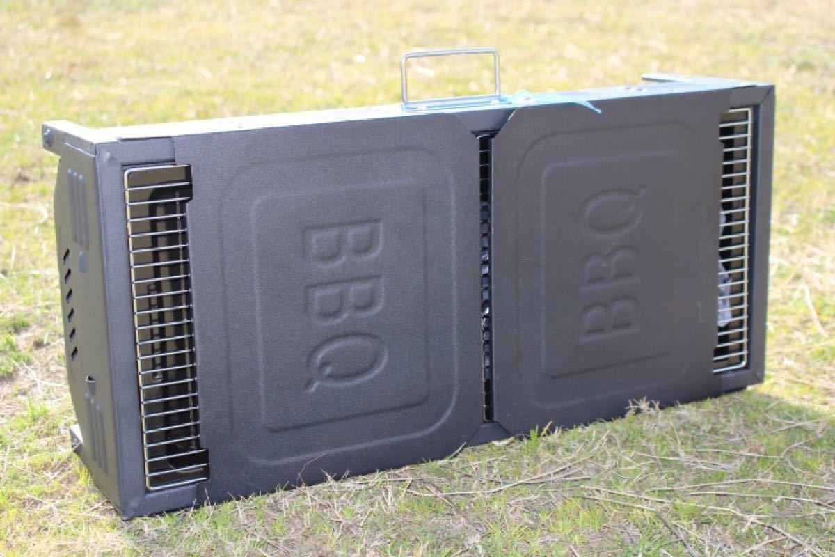 BBQコンロ 跳ね上げテーブル付きBBQコンロ ポータブルバーベキューコンロ ブラック 5人から8人対応 大型バーベキューコンロ