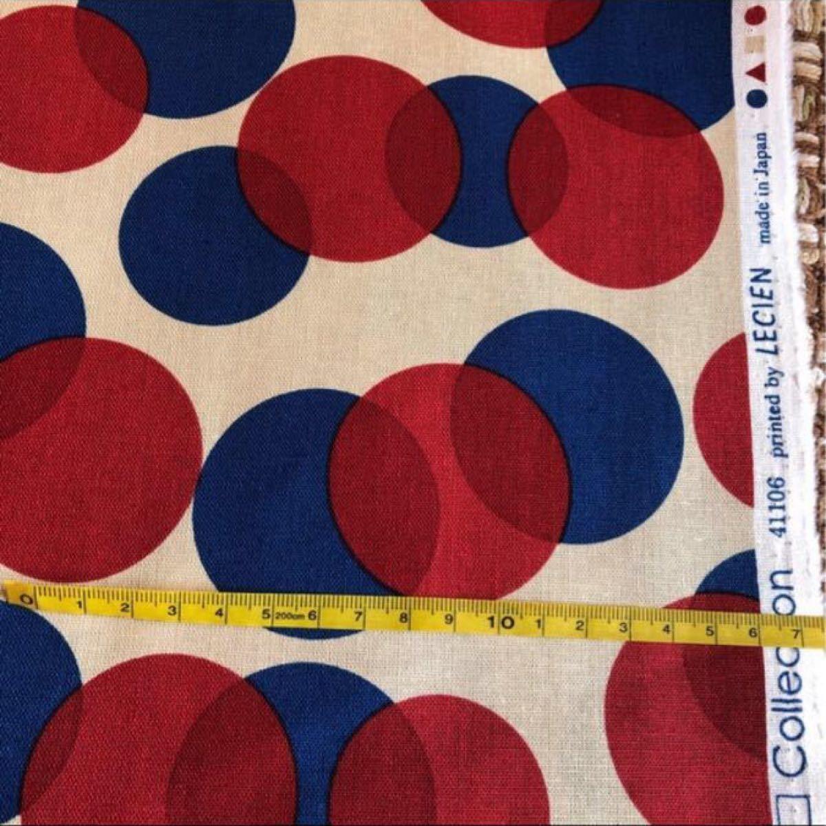 生地 サークルブルーレッド 108×50cm