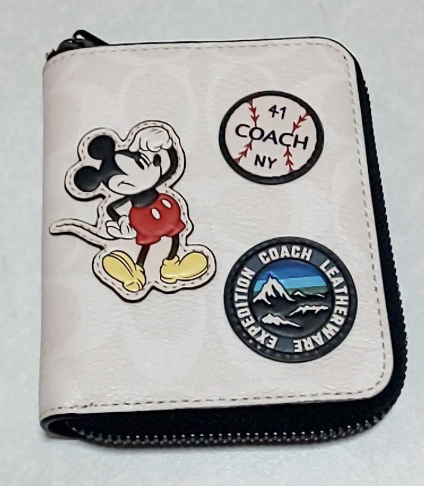 COACH ディズニーコラボ 3220 二つ折り財布 ミッキーパッチワーク ベースボール